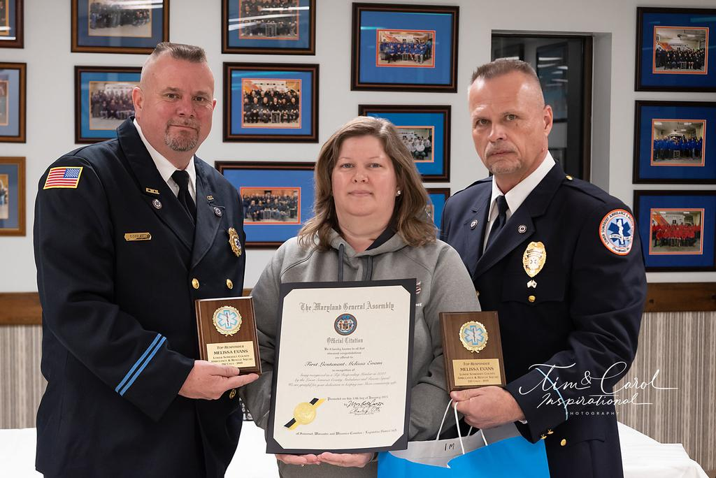 First Lieutenant Melissa Evans receiving her awards for Top Responder for 2019, 2020 and Governor's Citation.